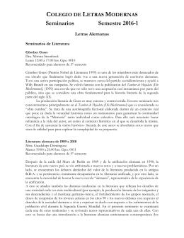 Seminarios Semestre 2016-1 - Colegio de Letras Modernas