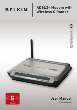 User Manual ADSL2+ Modem with Wireless G Router