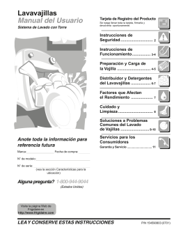 Lavavajillas Manual del Usuario