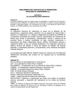 REGLAMENTO DEL ESTATUTO DE LA FEDERACION MEXICANA