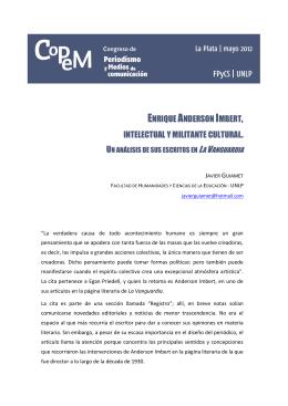 Enrique Anderson Imbert, intelectual y militante cultural. Un análisis