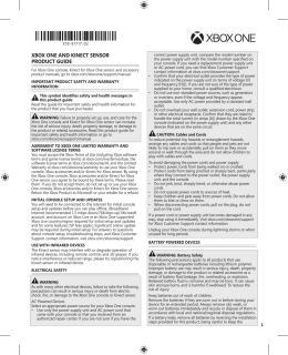 XboX one and KIneCT sensor ProdUCT GUIde