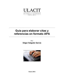 """""""Guía para elaborar citas y referencias en formato APA"""" (ULACIT)"""