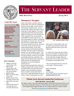 The Servant Leader, Spring 2015