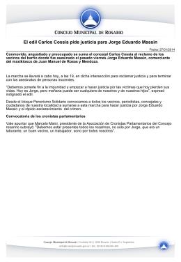 El edil Carlos Cossia pide justicia para Jorge Eduardo Massin