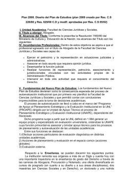 Plan de estudios 2000 - Facultad de Ciencias Jurídicas y Sociales