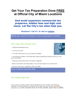 Get Your Tax Preparation Done FREE at Official City of Miami