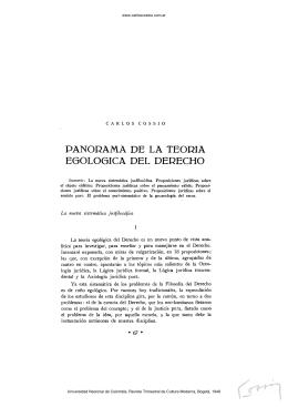 Panorama de la teoría egológica del derecho