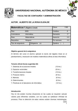 Álgebra Lineal - FCA