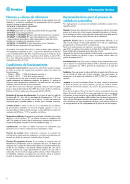 Información técnica acerca de los relés FINDER