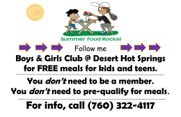 Boys & Girls Club @ Desert Hot Springs for FREE meals for kids and