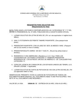 REQUISITOS PARA SOLICITAR VISA