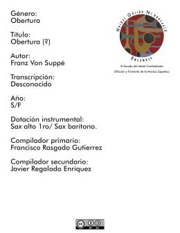 Género: Obertura Título: Obertura (?) Autor: Franz Von Suppé