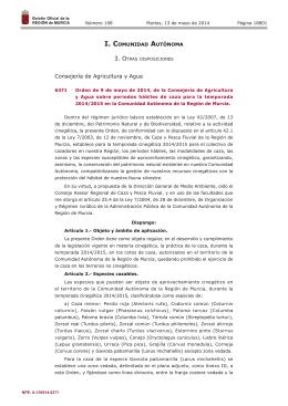 Orden de 9 de mayo de 2014, de la Consejería de Agricultura y