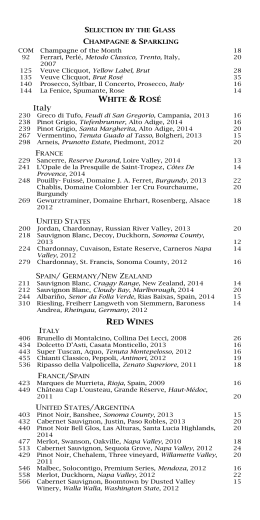 Wine List - Biltmore Hotel