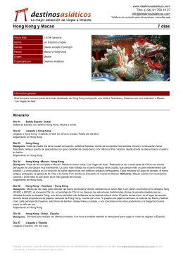 Hong Kong y Macao - Destinos Asiáticos