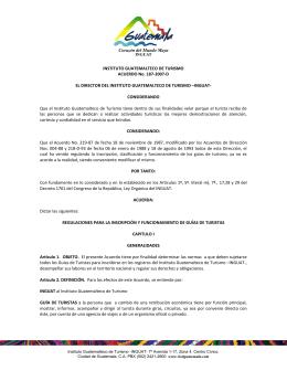 INSTITUTO GUATEMALTECO DE TURISMO ACUERDO No