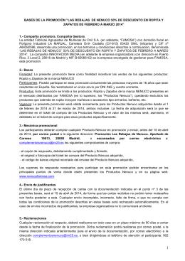 """BASES DE LA PROMOCIÓN """"LAS REBAJAS DE NENUCO 50% DE"""