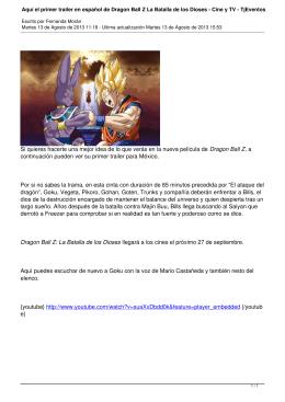 Aquí el primer trailer en español de Dragon Ball Z La Batalla de los