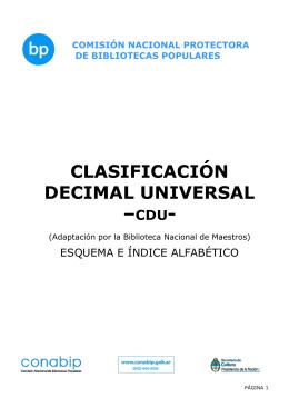 CLASIFICACIÓN DECIMAL UNIVERSAL –CDU-
