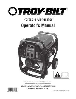 Portable Generator Operator`s Manual - Troy-Bilt