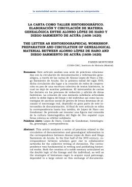 La carta como taller historiográfico: [...] López de Haro y Gondomar