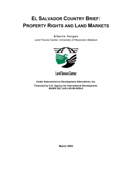 el salvador country brief: property rights and land markets
