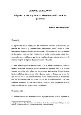 DERECHO DE RELACIÓN Régimen de visitas y derecho a la