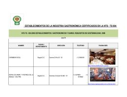 establecimientos de la industria gastronómica certificados en la nts