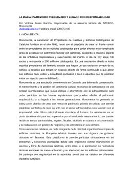LA MASIA: PATRIMONIO PRESERVADO Y LEGADO