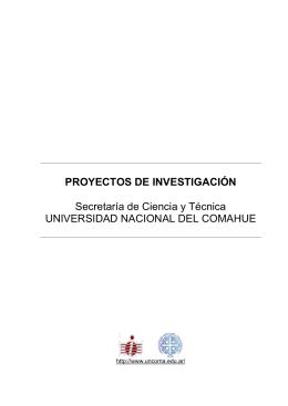 Proyectos Vigentes - Universidad Nacional del Comahue