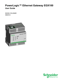 PowerLogic™ Ethernet Gateway EGX100 User Guide