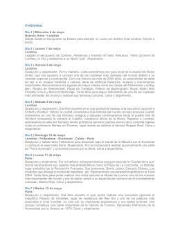 ITINERARIO Día 1 | Miércoles 6 de mayo Buenos Aires