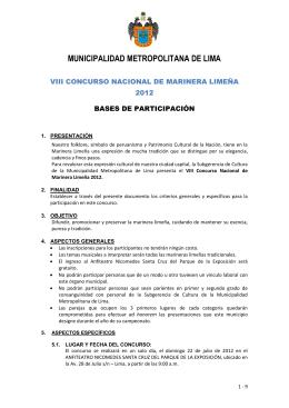 VIII CONCURSO NACIONAL DE MARINERA LIMEÑA 2012