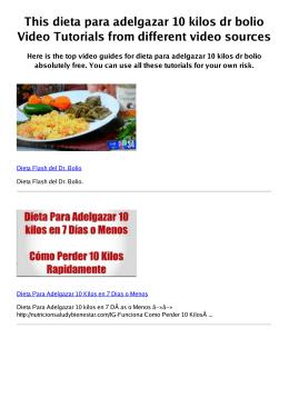 #Z dieta para adelgazar 10 kilos dr bolio PDF video books