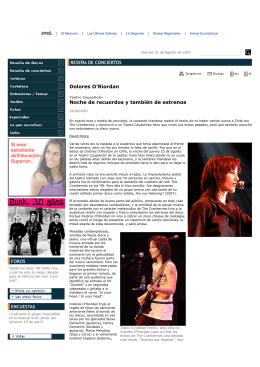 Dolores O`Riordan Noche de recuerdos y también