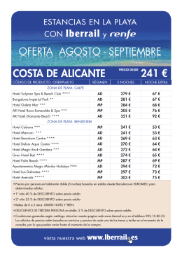 COSTA DE ALICANTE PRECIO DESDE 241 €