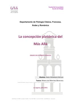 La concepcion platonica del Mas Alla
