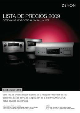 LISTA DE PRECIOS 2009