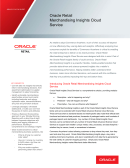 Oracle Retail Merchandising Insights Cloud Service