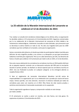 Comunicado - Lanzarote International Marathon