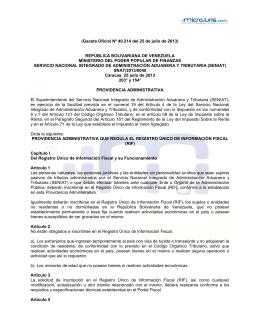 Gaceta Oficial Nº 40.214 del 25 de julio de 2013