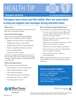 HEALTH TIP Teenagers and stress