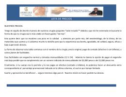 LISTA DE PRECIOS - Cirugía Plástica | Dr. Andrés Cruz
