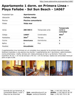 Apartamento 1 dorm. en Primera Linea - Playa Fañabe