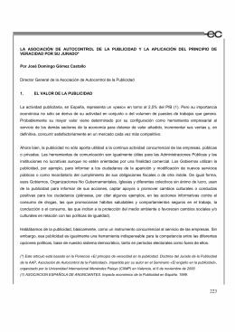 LA ASOCIACIÓN DE AUTOCONTROL DE LA PUBLICIDAD Y LA