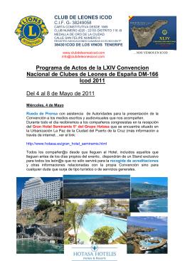 Programa de Actos de la LXIV Convencion Nacional de Clubes de
