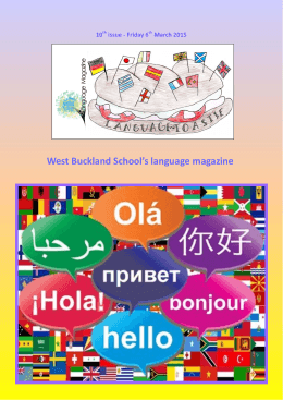 West Buckland School`s language magazine