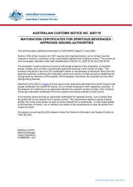 AUSTRALIAN CUSTOMS NOTICE NO. 2007/19