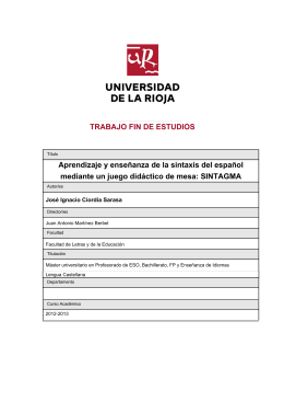 Aprendizaje y enseñanza de la sintaxis del español mediante un